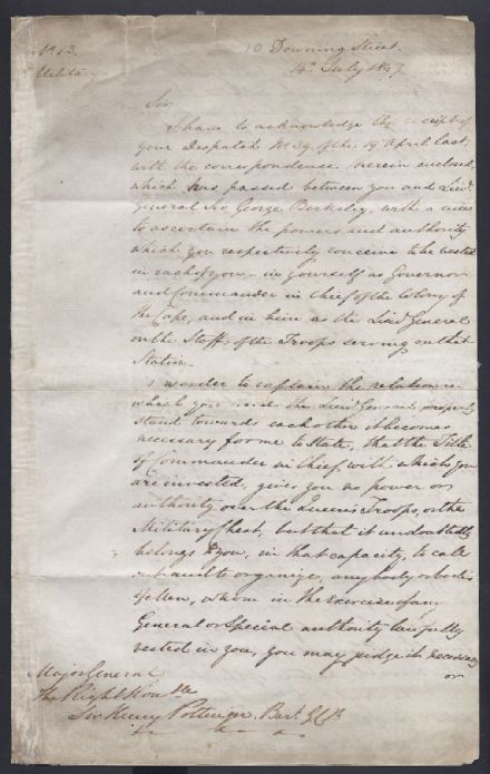 Earl Grey to Sir Henry Pottinger South Africa Downing Street 1847 Signed Letter